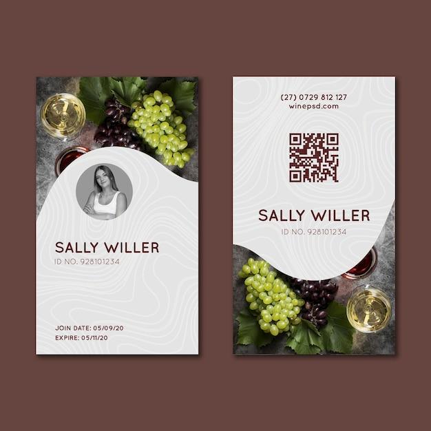 Modèle De Carte D'identité De Vin Vecteur Premium