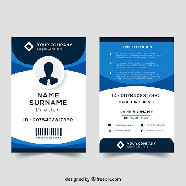 Modèle de carte d'identité Vecteur gratuit