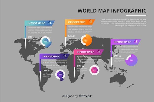 Modèle de carte infographie monde Vecteur gratuit