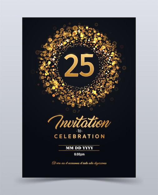 Modèle De Carte D'invitation Anniversaire 25 Ans Isolé Illustration Vectorielle | Vecteur Premium