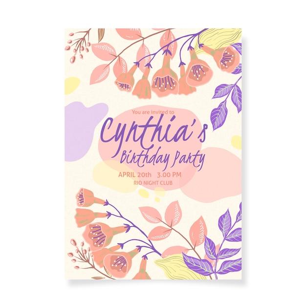 Modele De Carte D Invitation Anniversaire Floral Vecteur Gratuite