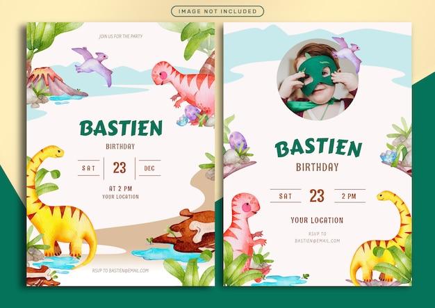 Modèle De Carte D'invitation D'anniversaire Avec Illustration Aquarelle Thème Jurassique Vecteur Premium
