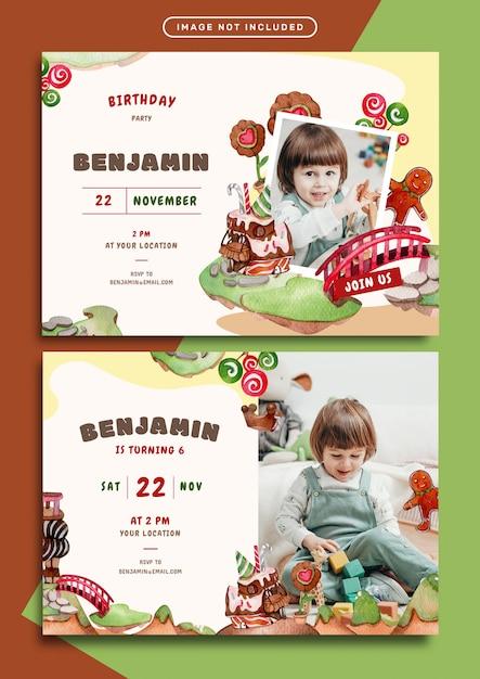 Modèle De Carte D'invitation Anniversaire Thème Chocolat Terre Vecteur Premium