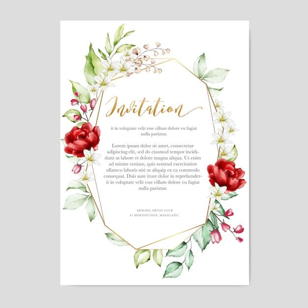 Modèle de carte invitation aquarelle cadre floral multi usage Vecteur Premium