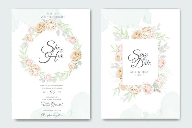 Modèle de carte invitation beau cadre floral mariage Vecteur Premium
