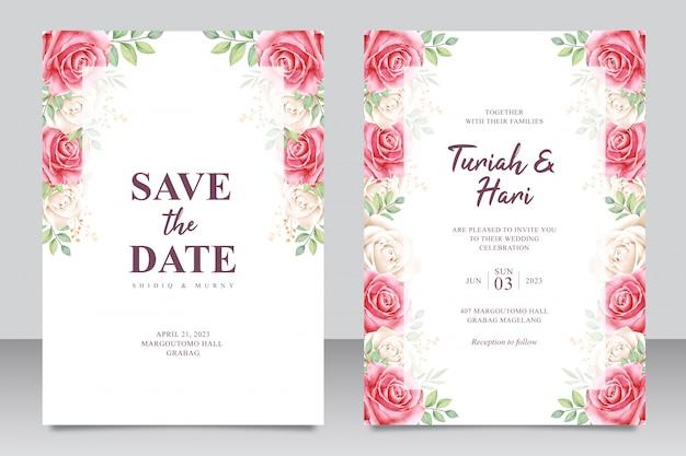 Modèle de carte invitation beau cadre floral multi usage mariage Vecteur Premium
