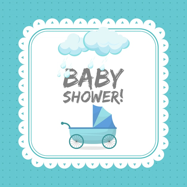 Modèle de carte invitation bébé douche Vecteur Premium