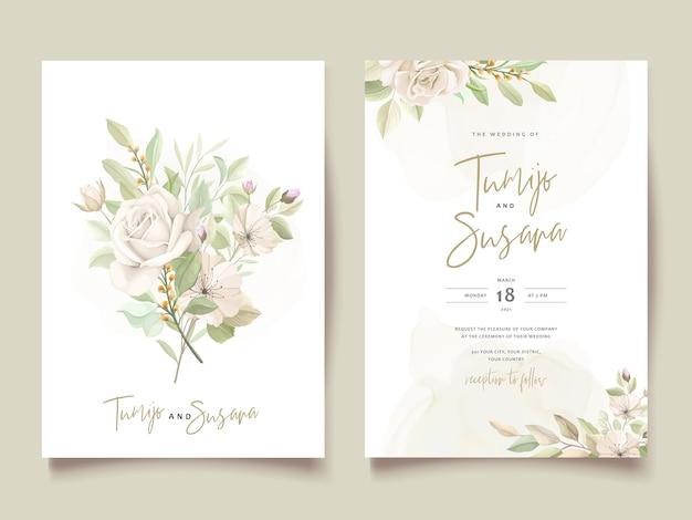 Modèle De Carte D'invitation De Belles Roses Vecteur gratuit