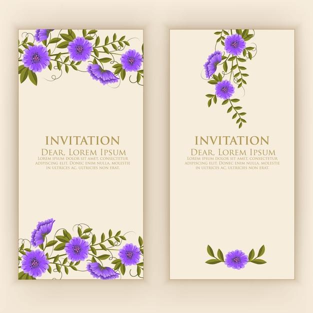 Modèle De Carte D'invitation Avec Une Décoration Florale élégante Vecteur gratuit