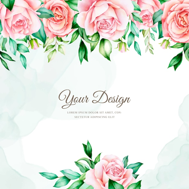 Modèle De Carte D'invitation Floral Aquarelle élégant Vecteur gratuit