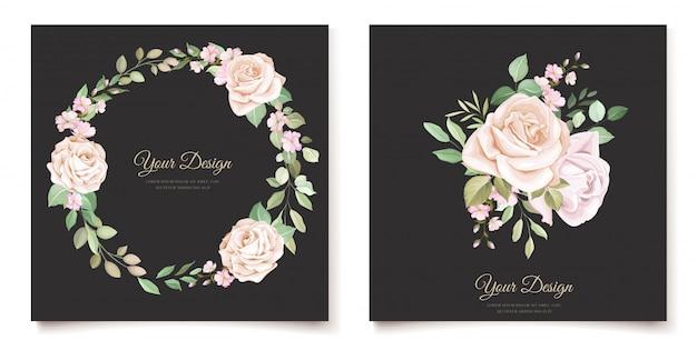 Modèle De Carte D'invitation Floral élégant Vecteur gratuit