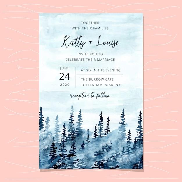 Modèle de carte d'invitation de mariage avec aquarelle bleu forêt brumeuse Vecteur Premium