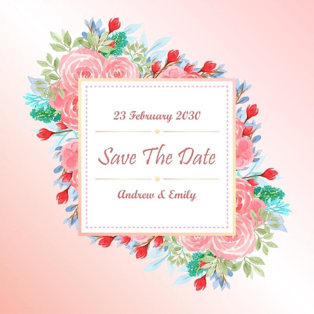 Modèle de carte invitation de mariage aquarelle avec fleurs roses Vecteur Premium