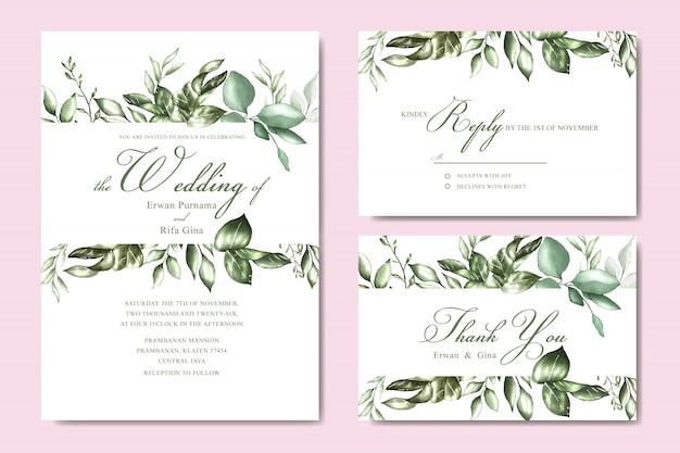 Modèle de carte invitation de mariage avec aquarelle florale et feuilles Vecteur Premium