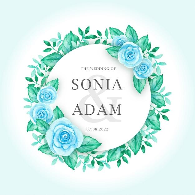 Modèle de carte invitation de mariage avec aquarelle guirlande de fleurs roses bleues Vecteur Premium