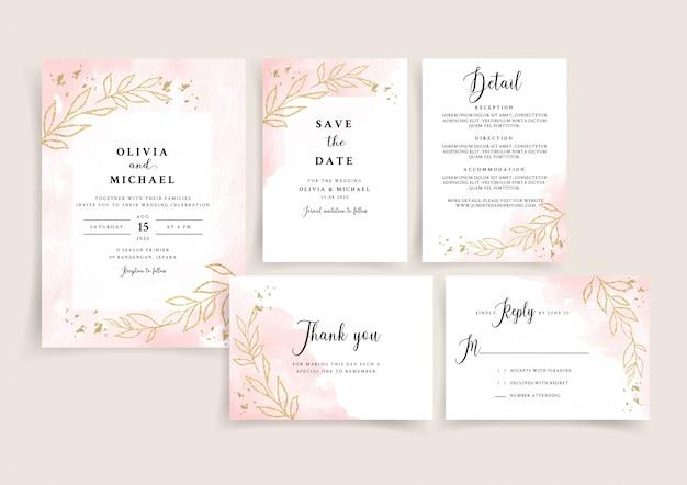 Modèle De Carte D'invitation De Mariage Aquarelle En Or Rose Serti De Fleurs Dorées Vecteur Premium