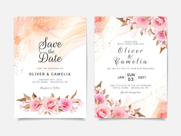 Modèle De Carte D'invitation De Mariage Artistique Sertie De Décorations Florales Vecteur Premium
