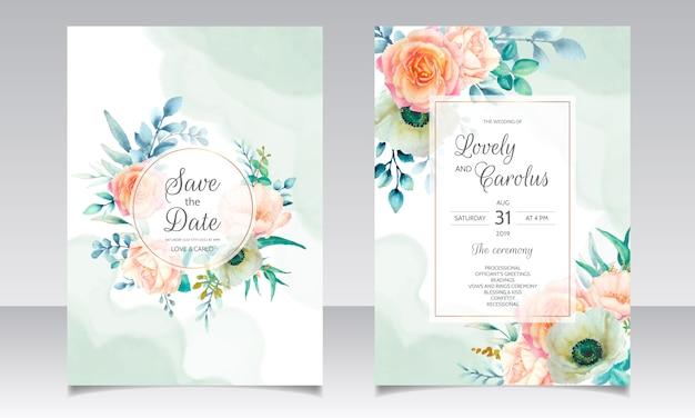 Modèle De Carte D'invitation De Mariage Belle Couronne Florale Aquarelle Vecteur Premium