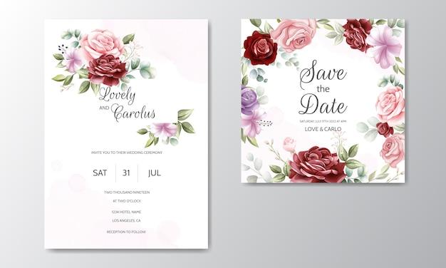 Modèle De Carte D'invitation De Mariage Belle Couronne Florale Vecteur Premium