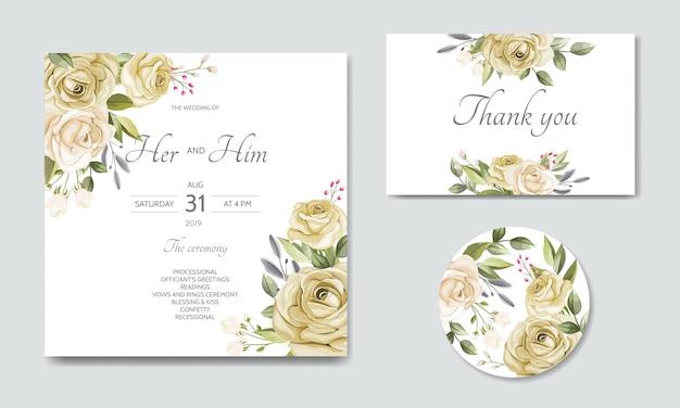 Modèle de carte d'invitation de mariage de belles feuilles florales Vecteur Premium
