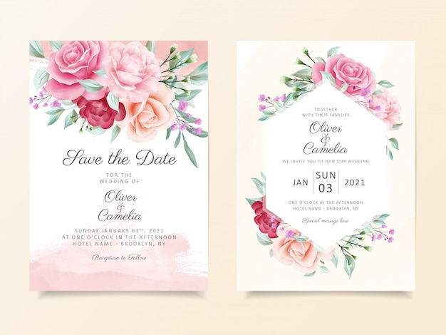 Modèle de carte d'invitation de mariage botanique élégant serti de décoration de fleurs aquarelle douce Vecteur Premium