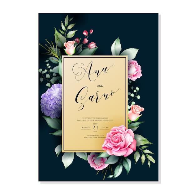 Modèle de carte d'invitation de mariage, cadre floral aquarelle Vecteur Premium