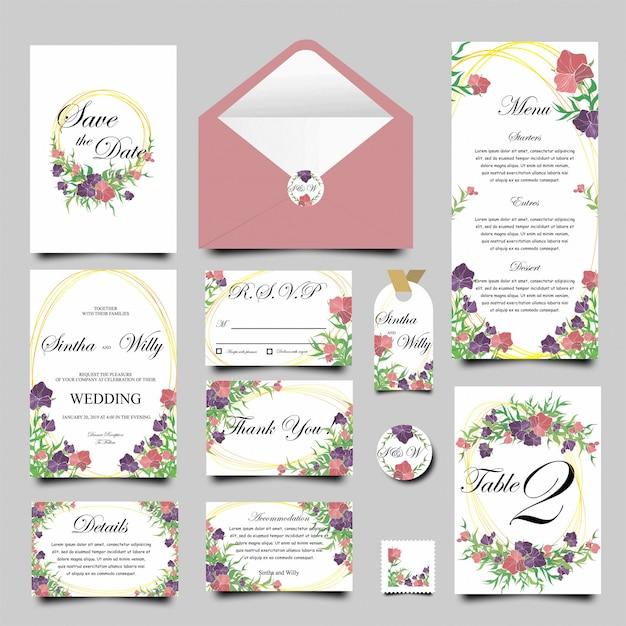 Modèle de carte d'invitation de mariage avec des cadres de fleurs Vecteur Premium