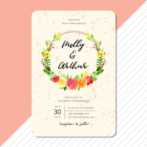 Modèle de carte invitation de mariage avec couronne aquarelle de belle fleur Vecteur Premium