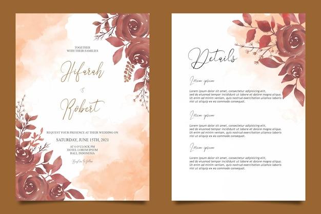 Modèle De Carte D & # 39; Invitation De Mariage Avec Décoration De Fleurs Aquarelle Et Carte De Détail Vecteur Premium