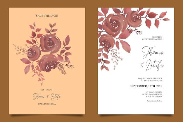 Modèle De Carte D'invitation De Mariage Avec Décoration Florale Aquarelle Marron Vecteur Premium