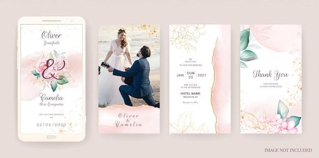 Modèle De Carte D'invitation De Mariage électronique Serti D'aquarelle Et D'or Floral. Illustration De Fleurs Pour Des Histoires De Médias Sociaux Vecteur Premium