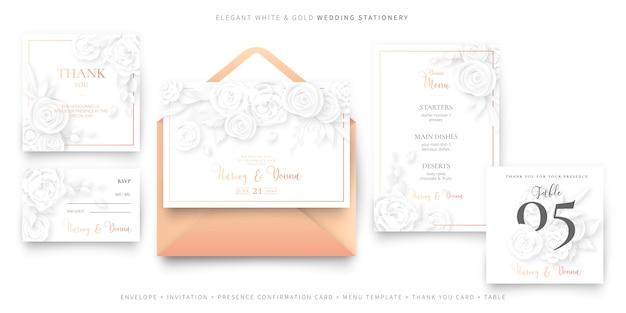Modèle de carte invitation de mariage élégant avec enveloppe, ensemble de papeterie Vecteur gratuit