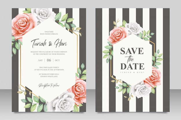 Modèle de carte d'invitation de mariage élégant avec des rayures Vecteur Premium