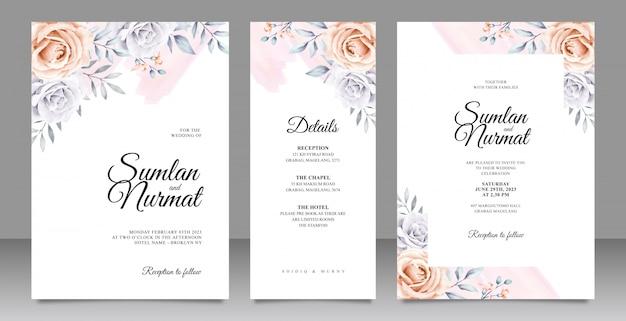 Modèle de carte d'invitation mariage élégant serti d'aquarelle florale Vecteur Premium
