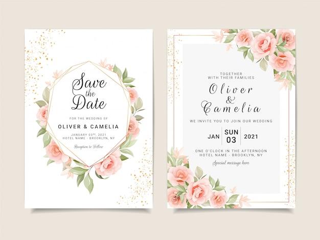 Modèle De Carte D'invitation De Mariage élégant Serti De Cadre Floral Doré Et De Paillettes Vecteur Premium