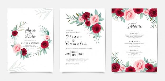 Modèle De Carte D'invitation De Mariage élégant Serti De Décoration De Fleurs Vecteur Premium