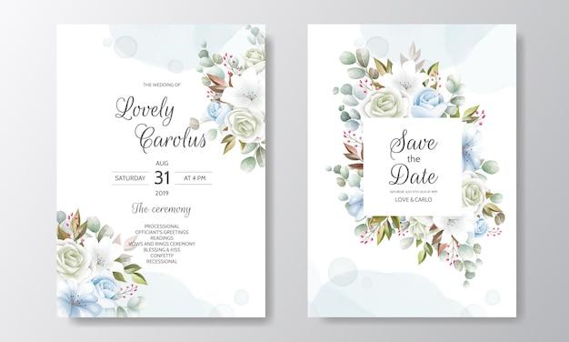 Modèle De Carte D'invitation De Mariage élégant Serti De Décoration Florale Vecteur Premium