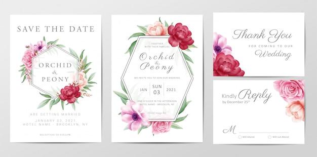 Modèle de carte d'invitation de mariage élégant serti de fleurs roses Vecteur Premium