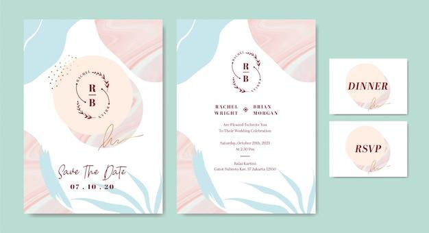 Modèle De Carte D'invitation De Mariage élégant Avec Un Trait De Pinceau Abstrait Façonne Le Marbre Vecteur Premium