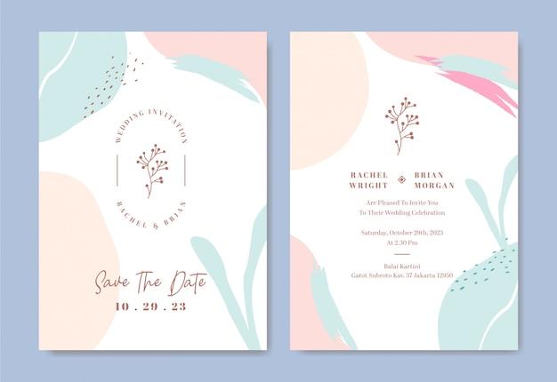 Modèle de carte d'invitation de mariage élégant avec un trait de pinceau abstrait et formes couleur de l'eau Vecteur Premium