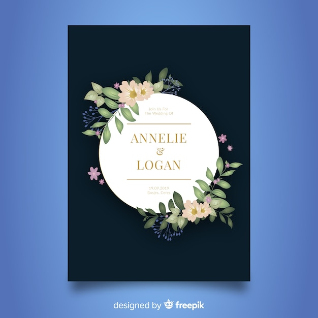 Modèle de carte d'invitation de mariage élégant Vecteur gratuit