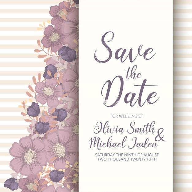 Modèle de carte invitation de mariage avec une fleur colorée. Vecteur gratuit