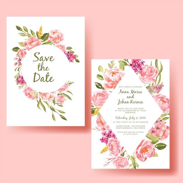 Modèle De Carte Invitation De Mariage Avec Fleur De Pêche Cadre Aquarelle Vecteur Premium