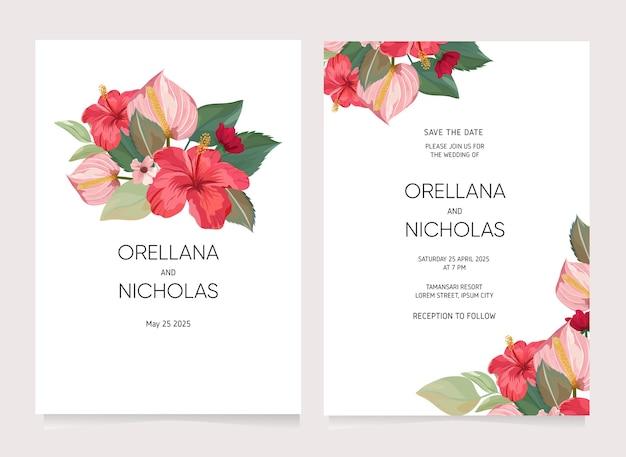 Modèle De Carte D & # 39; Invitation De Mariage De Fleur Tropicale Vecteur Premium
