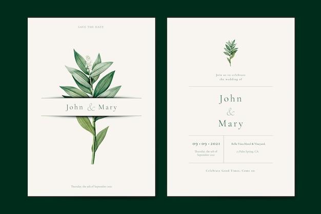 Modèle de carte invitation mariage fleur Vecteur Premium