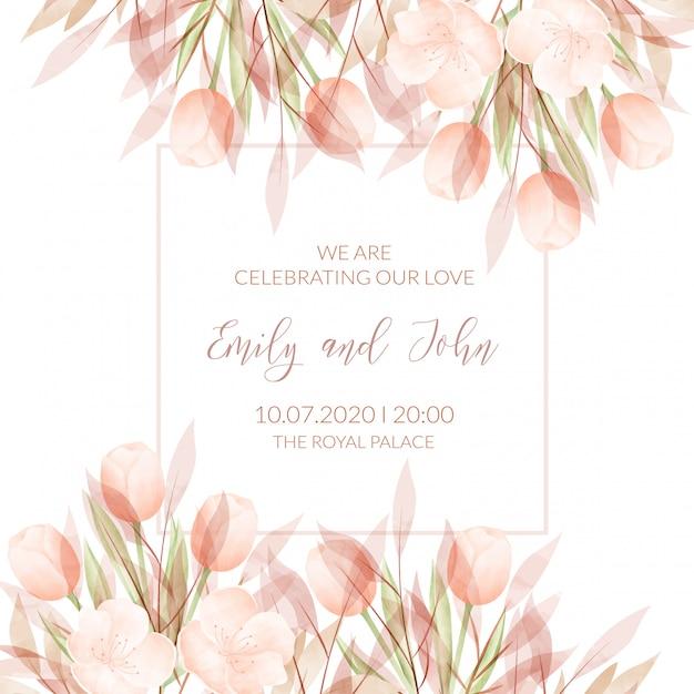 Modèle de carte d'invitation de mariage avec des fleurs à l'aquarelle Vecteur Premium
