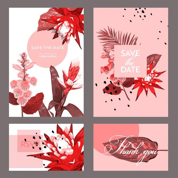 Modèle de carte invitation de mariage avec des fleurs et des feuilles de palmier. Vecteur Premium