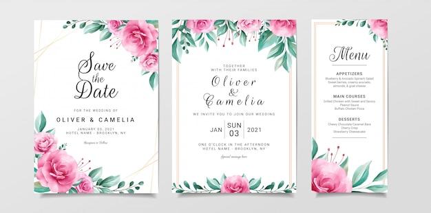 Modèle De Carte D'invitation De Mariage De Fleurs Sertie De Bordure Florale Aquarelle Vecteur Premium