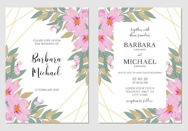 Modèle de carte invitation mariage floral aquarelle Vecteur Premium