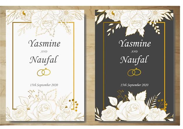 Modèle de carte invitation de mariage floral dessiné main élégant Vecteur Premium